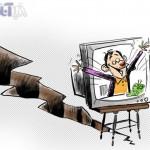 کاریکاتوری از تلویزیون و زلزله
