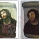پیرزنی که تابلوی قدیمی عیسی را استادانه نابود کرد+عکس