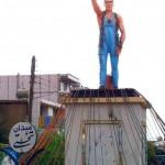 اقدام عجیب شهرداری ایذه با مجسمه تختی +عکس