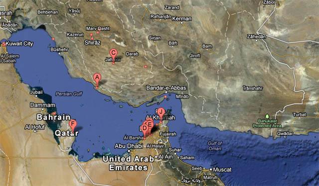 Persian Gulf,خلیج فارس,نقشه گوگل