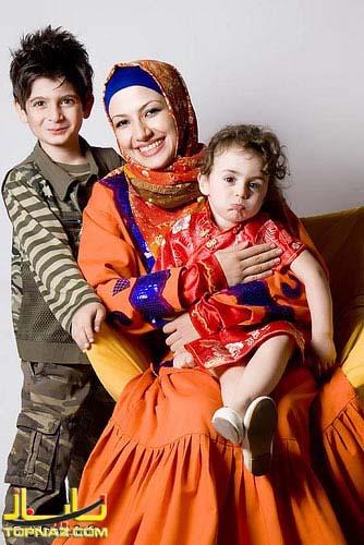 ملیکا زارعی و بچه هایش