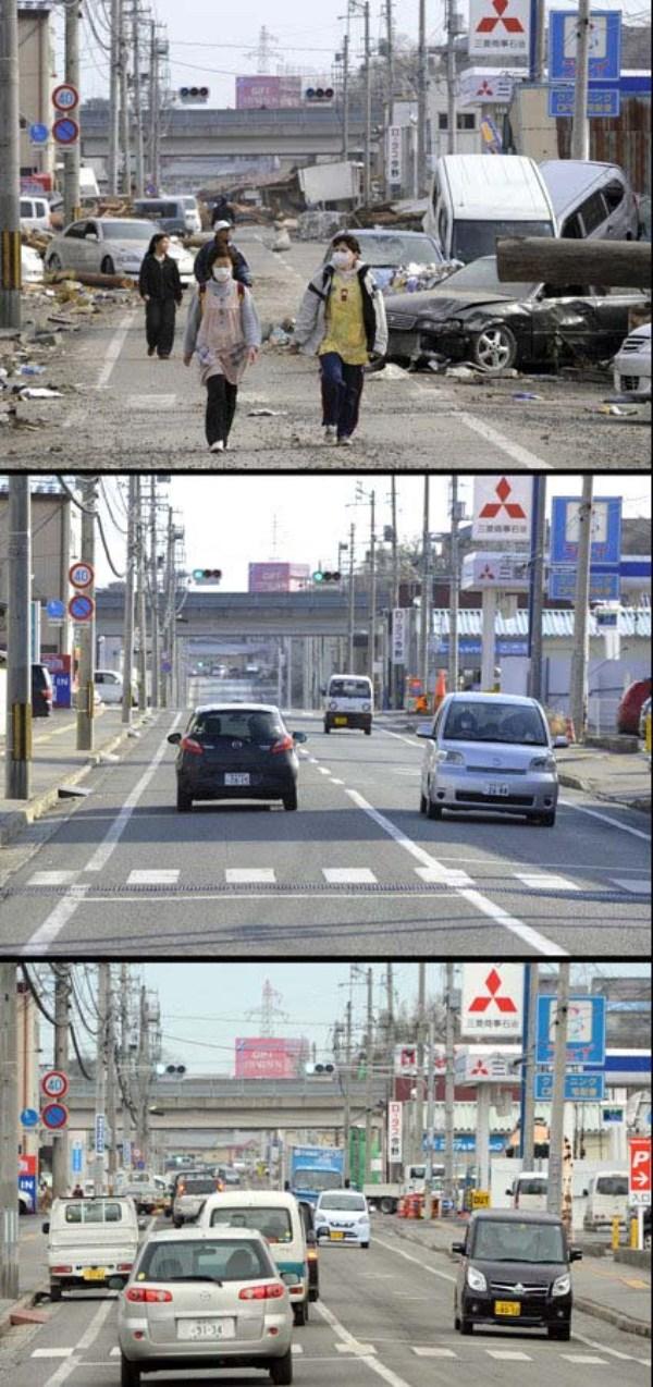 ژاپن قبل و بعد از زلزله