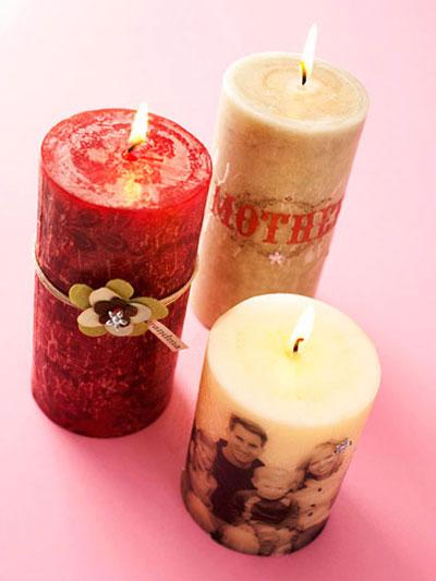 تزئین شمع برای روز مادر