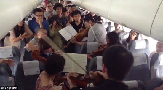اجرای کنسرت در هواپیمای در حال حرکت! +عکس
