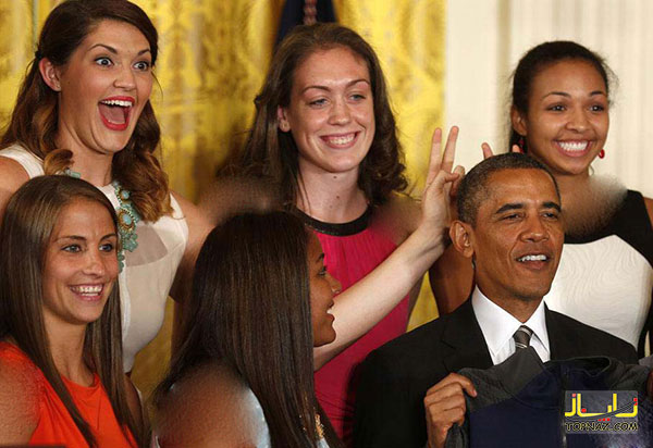 شوخی جالب دختران جوان با رئیس جمهور! +تصاویر