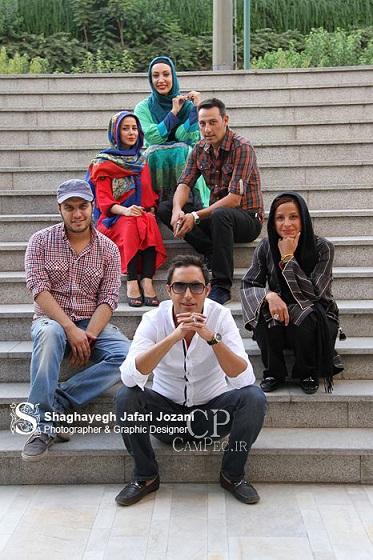 الناز حبیبی و همسرش و بازیگران سریال دودکش