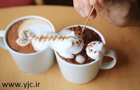 نقاشی سه بعدی روی قهوه +تصاویر