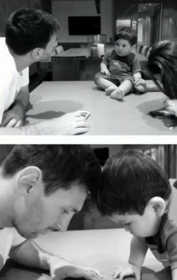 عکس لیونل مسی و پسرش