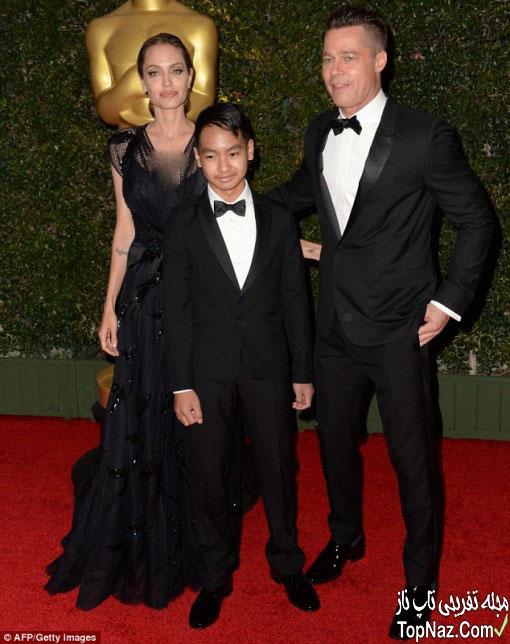 عکس آنجلینا جولی همسر و فرزندش بر فرش قرمز