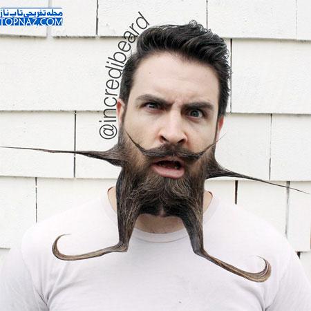 کار شگفت انگیز و جالب این مرد با ریش هایش!