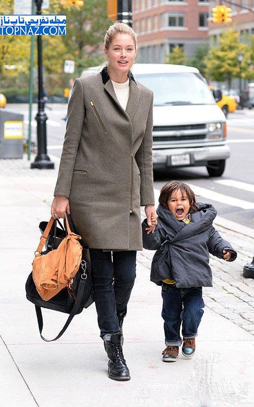 عکس های دوتزن کروس (مانکن معروف) و پسرش