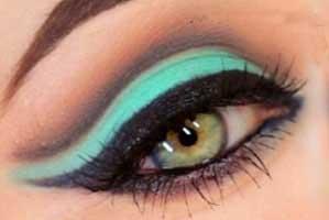 آرایش چشم با سایه فیروزه ای + عکس