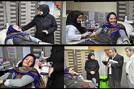 عکس مهناز افشار در حال اهدای خون