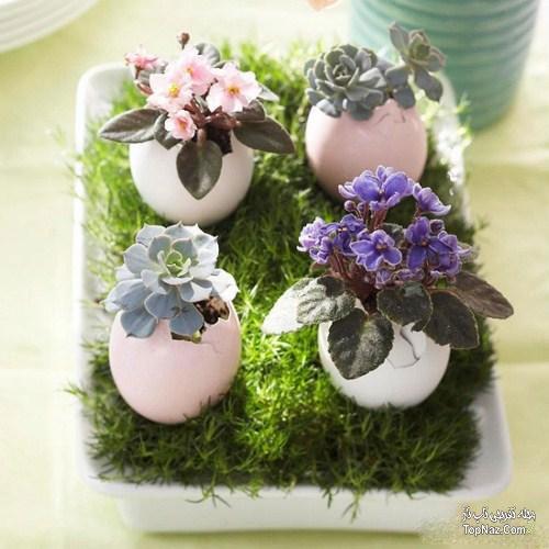 تزئین سبزه و تخم مرغ عید