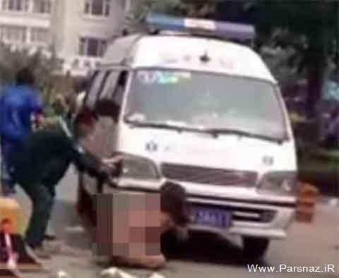 برهنه شدن این زن در خیابان برای انتقام گرفتن!