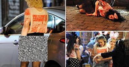 دختران برهنه و مست در خیابان های بریتانیا