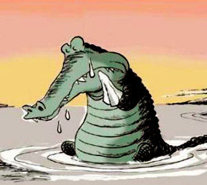 ضرب المثل اشک تمساح می ریزد