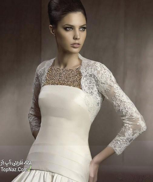 پارچه دانتل لباس عروس مدل کت و شنل عروس