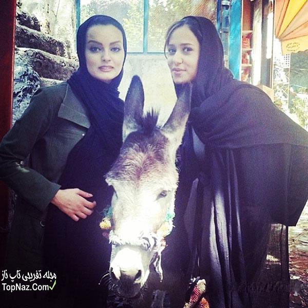 عکس نیلوفر پارسا و پریناز ایزدیار در کنار الاغ!