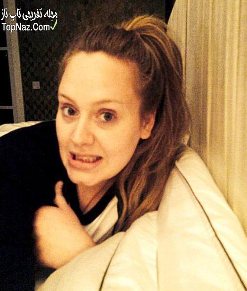 عکس از خواننده معروف ادل Adele بدون آرایش