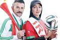 عکس امین حیایی و نیلوفر خوش خلق با پرچم ایران