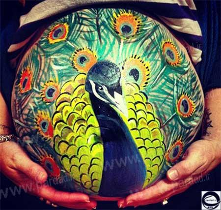 نقاشی های جالب روی شکم زنان باردار