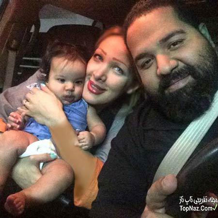 ع رضا صادقی و در کنار همسر خارجی اش و دخترش