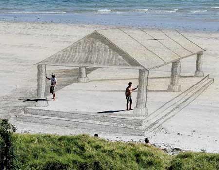 نقاشی سه بعدی در ساحل