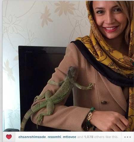 عکس شبنم قلی خانی با حیوان خانگی عجیب!