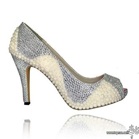 مدل کفش عروس پولک کاری شده