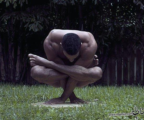 عکس مرد, بدن نرم, حرکت ژیمناستیک