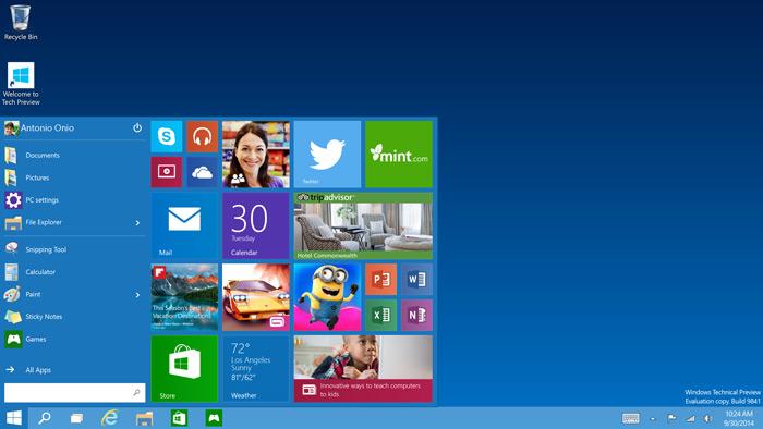 Tech-Preview Start-menu
