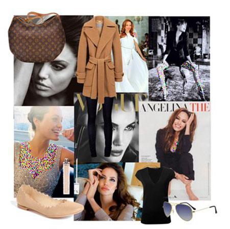 ست کردن لباس های پاییزی, ست لباس پاییزی آنجلینا جولی