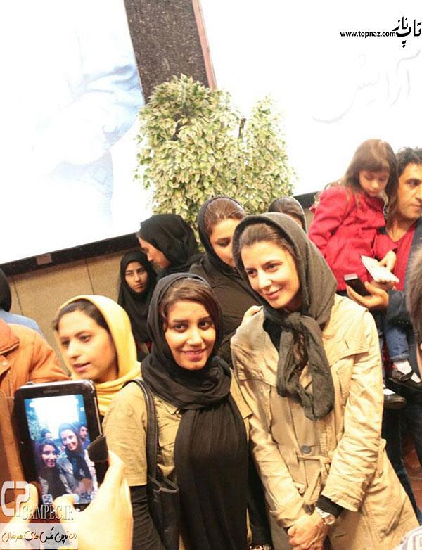 عکس لیلا حاتمی در کنار طرفدارانش