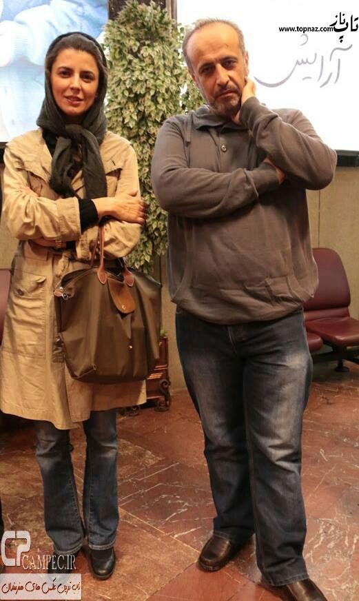 عکس لیلا حاتمی در سینما استقلال و در کنار کارگردان فیلم آرایش غلیظ