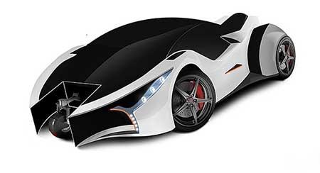 عکس خودروی سوپر اسپرت با چرخ مخفی