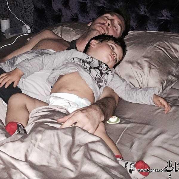عکس سلفی لیونل مسی و پسرش
