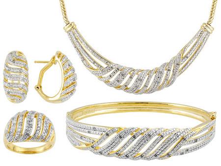 مدل نیم ست طلا و جواهر