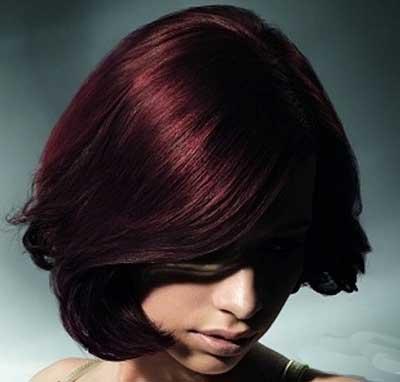 رنگ موی عنابی و مدل مو زنانه