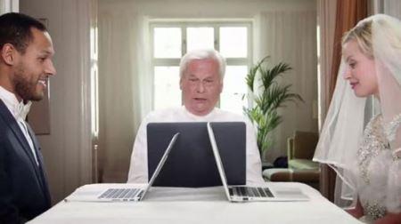 برگزاری مراسم عجیب ازدواج آنلاین با وب کم (عکس)