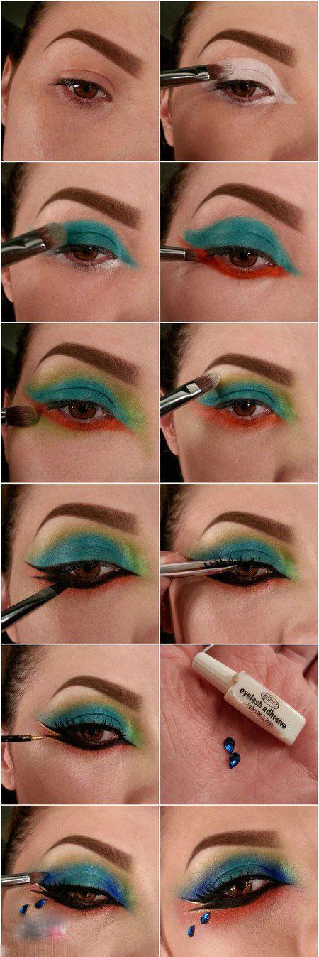آموزش تصویری کشیدن سایه چشم رنگین کمانی