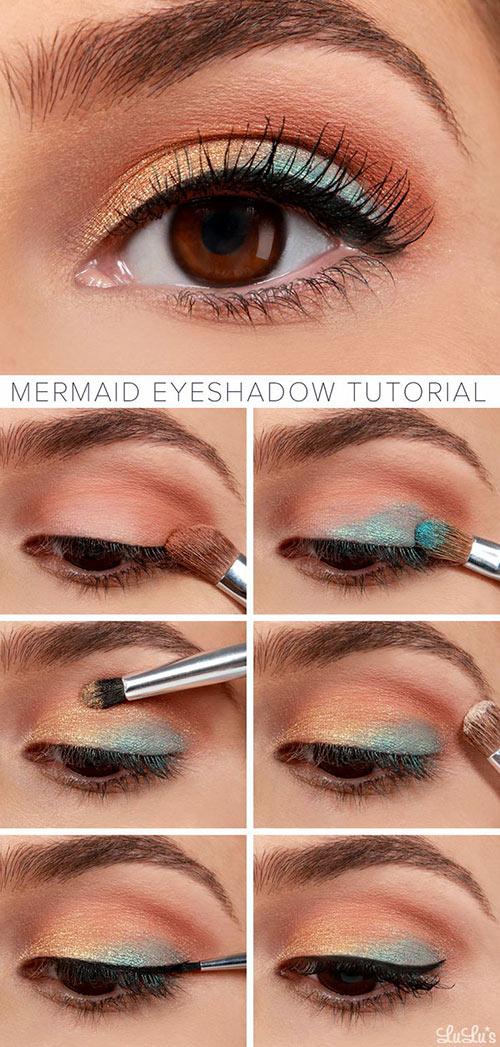 آموزش تصویری آریش چشم به رنگ مسی و آبی