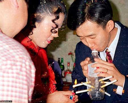رسم سیگار کشیدن عروس در شب عروسی