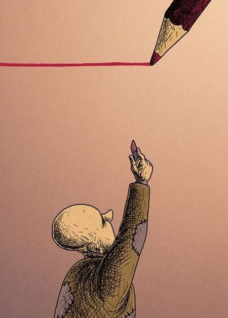 کاریکاتو فقرا در زیر خط فقر