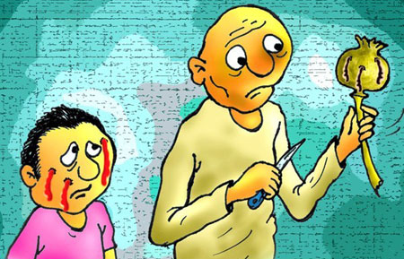 کاریکاتور مواد مخدر و معتادان مواد