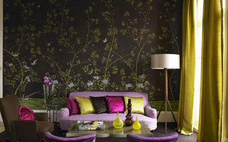 کاغذ دیواری های اتاق نشیمن,مدل کاغذ دیواری طرح گل