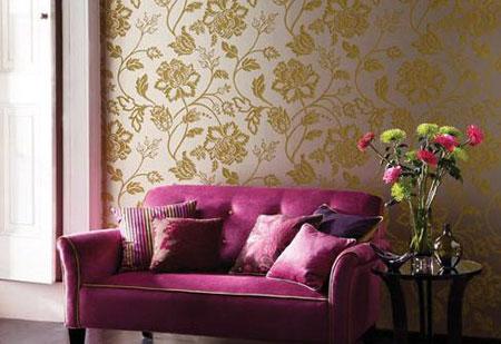 کاغذ دیواری های پذیرایی,مدل کاغذ دیواری طلایی