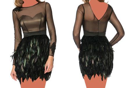 مدل لباس مجلسی کوتاه با حریر و گیپور