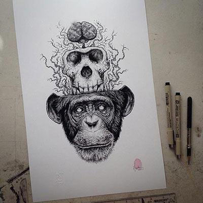 نقاشی های سیاه قلم بسیار طبیعی و زیبا