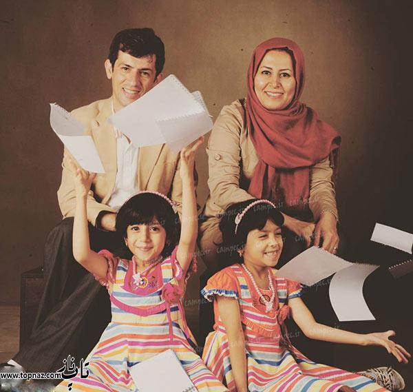 سیروس همتی در کنار همسر و دو دخترش